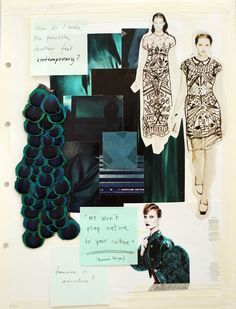 Fashion Sketchbook design process; fashion mood board & idea development; peacock feather theme // Lina Michal | best stuff