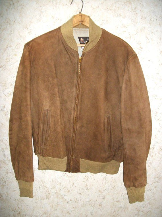 2b7ed5bc3a4 60s Brown Suede Bomber Jacket Sears Oakbrook Sportswear Zippered Front  Hipster Aviator Very Soft Suede Leather 1960s Retro Fashion Mens Med