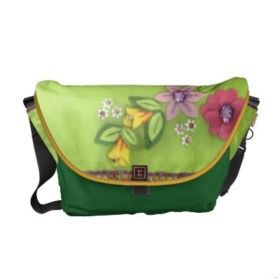 Green Felt and Flower in Felt Messenger Bag! © crazycolors' store on Zazzle!