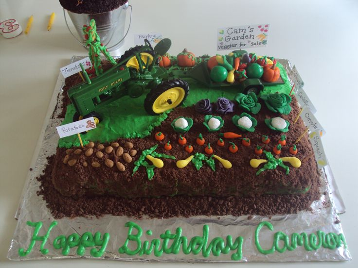 Cam's Vegetable Garden cake - vanilla cake with buttercream frosting and fondant veggies with chocolate teddy graham dirt.