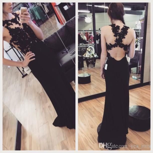 Vestido Prom Dresses 2016 New Cheap Illusion Neck Long Evening Dress Black Chiffon Lace Appliques Keyhold Open Back Sheer Party Gowns Online with $179.06/Piece on Yes_mrs's Store | DHgate.com