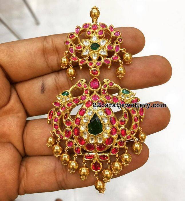 55 Grams Two Step Ruby Locket - Jewellery Designs