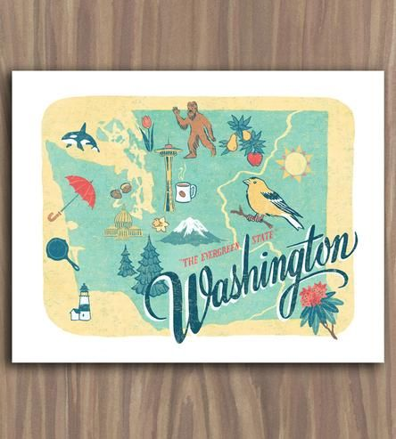 This is awesome! (A few more states available on Scoutmob) :: Washington State Art Print by Anagram Press on Scoutmob Shoppe