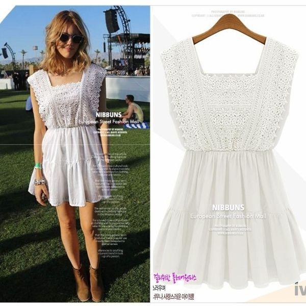 Festival Kleid Hippie Kleid weiß Minikleid Spitze Babydoll Top Häkelkleid weiß