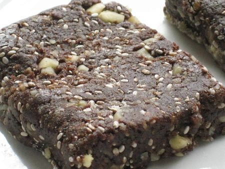 Recipe for Raw Chocolate-Chia Walnut Energy Bars.  Good trail food?
