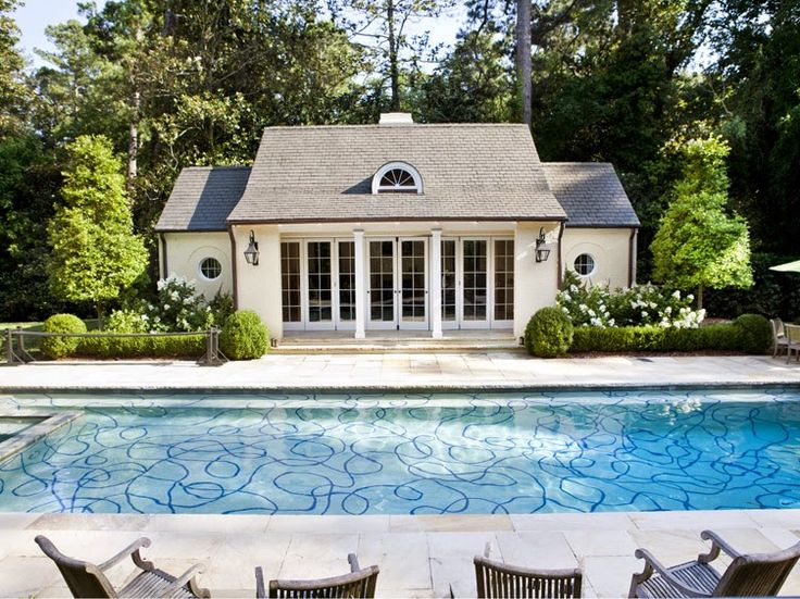 outdoor pool with decorative bottom in atlanta ga designed by tammy connor interior design