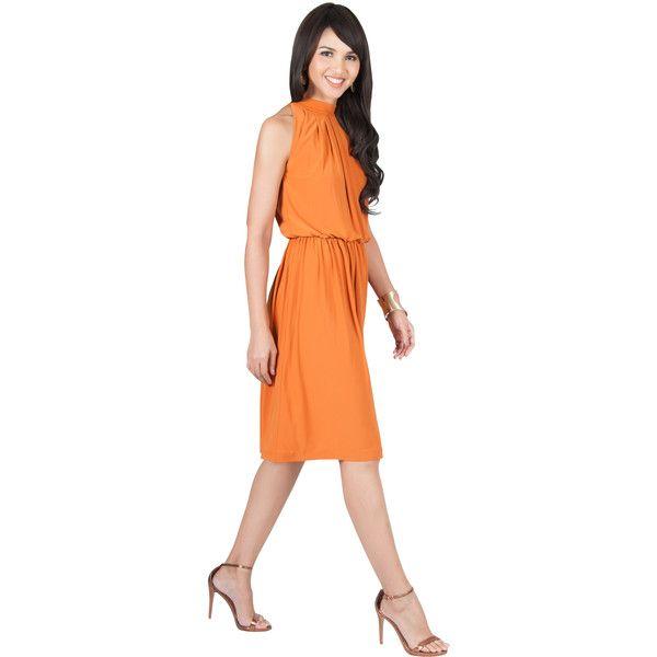 KOH KOH ZINA - Summer Flowy Formal Sleeveless Knee Length Midi Dress (880 EGP) ❤ liked on Polyvore featuring dresses, orange, formal dresses, summer dresses, red summer dress, red knee length dress and red midi dress