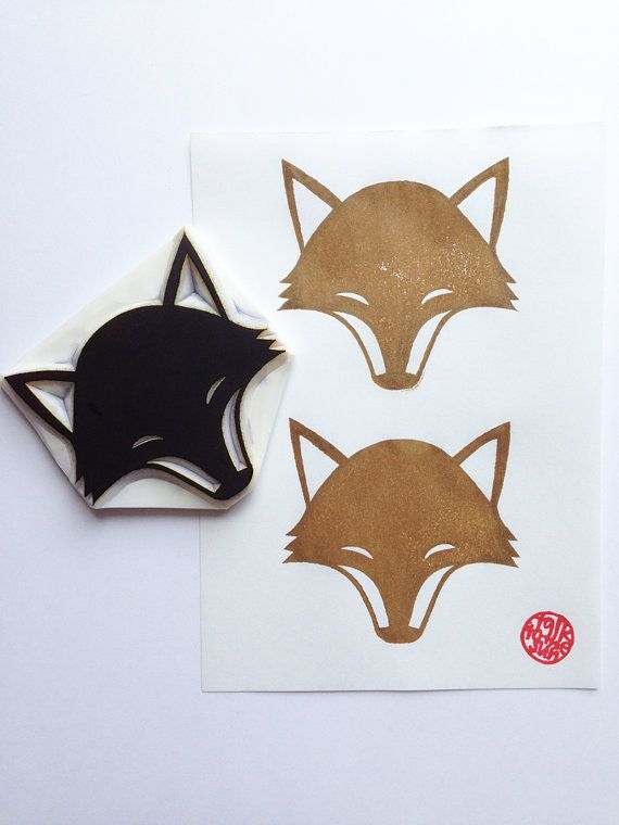 fox hand carved rubber stamp. woodland animal stamp. birthday christmas holidays crafts. gift wrapping. scrapbooking. block printing. XL