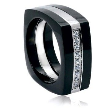 Goldsmith Men's Two-Tone Titanium Band Striking Cubic Zirconia Setting 9-mm Sizes 9-14 Plus Half Sizes Free Shipping