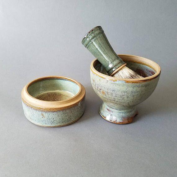 2 or 3 piece Traditional Pedestal Shaving Set Mug Soap Storage