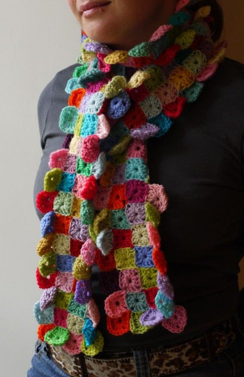 scarf: Squares Scarfs, Handmade Scarves, Crafts Ideas, Colors Scarves, Crochet Scarfs Patterns, Crafty Crochet, Granny Squares, Free Patterns, Crochet Patterns
