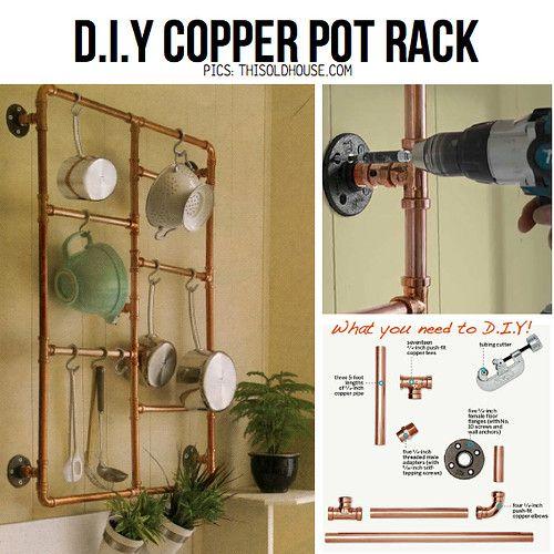 DIY Copper pot rack