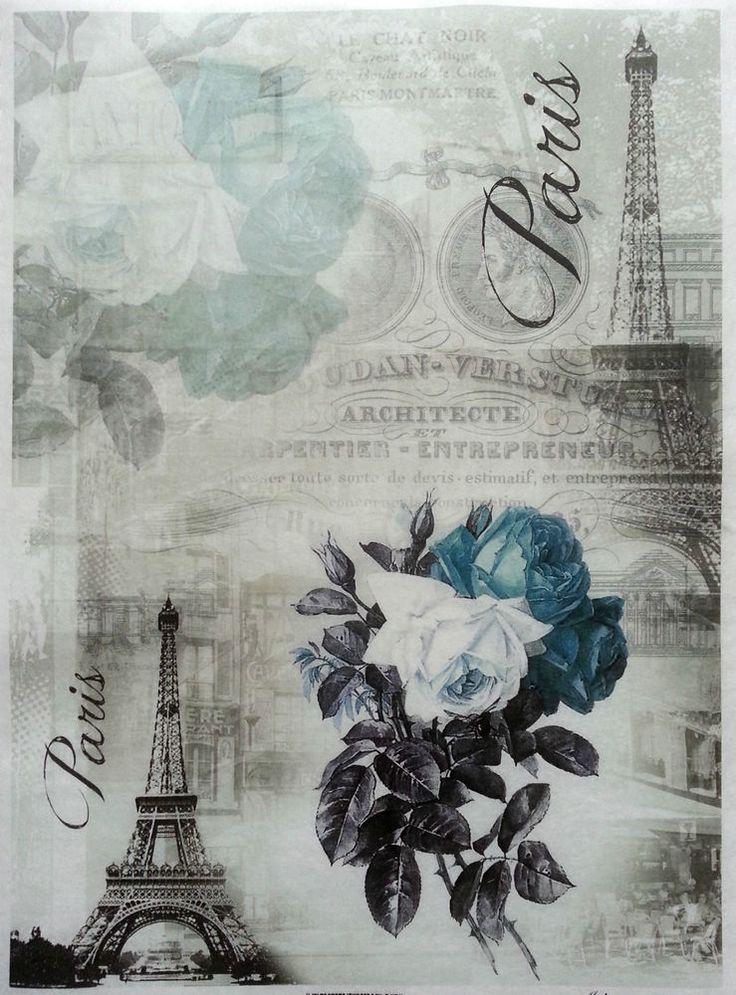 Rice Decoupage Paper / Decoupage Sheets  / Scrapbooking / BLUE PARIS 2