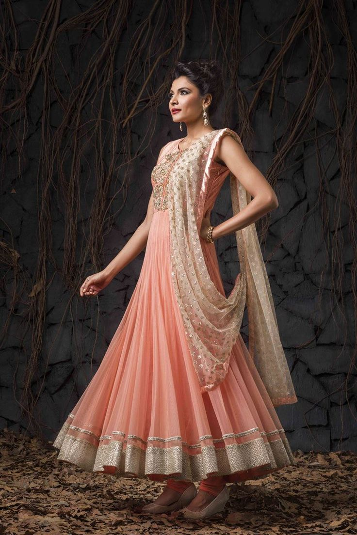Show details for Stunning peach anarkali suit with lovely zardosi work