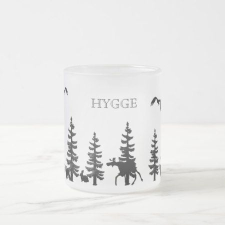 Nordic Hygge with forest and animals in black Frosted Glass Coffee Mug - tap, personalize, buy right now!
