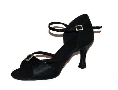 "Loops 242 black  Loops of Dance 242 Black 3"" flare heel from satin. Leather sole ideal for all latin dances: salsa, rumba, chacha, mambo etc.   Satin bag included.  Price: 50.00€"
