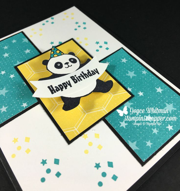 Here's a better picture of the panda so you can see how he dances. Check him out on my blog. I used the Party Panda stamp set along with the Bubbles & Fizz designer series paper from Stampin' Up! 2018 Sale-A-Bration catalog. I also used the Duet Banner punch.