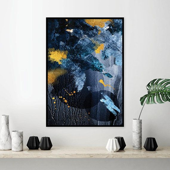 Downloadable Navy Blue And Gold Abstract Printable Wall Art Large