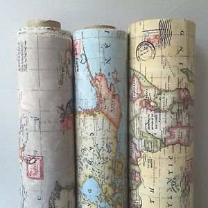 Vintage World Map Cotton Linen Fabric for Curtain & Upholstery, Sold by Metre