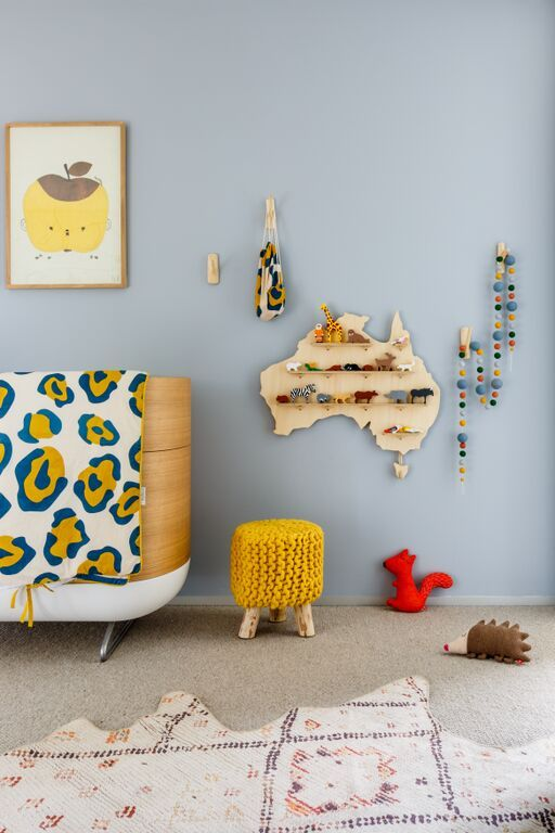 Gorgeous native nursery theme. Nursery design by Little Liberty Rooms. Cot/Crib by Ubabub. Shelf by One Two Tree, Posters available at Norsu Interiors, Linen by And The Rest.