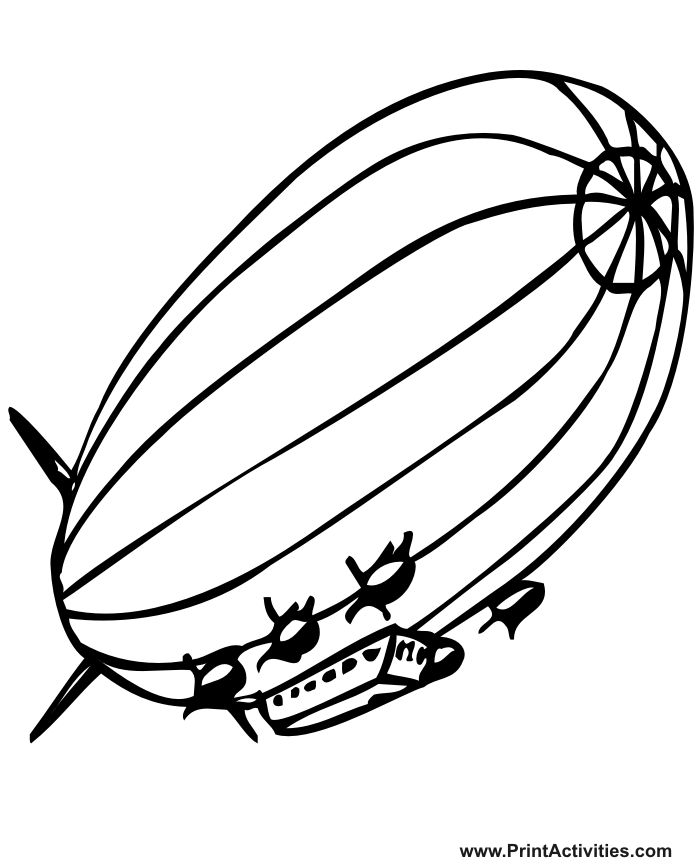 Blimp Coloring Page Realictic Blimp Drawing Colouring