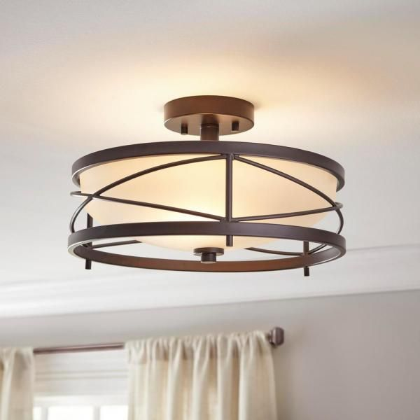 Home Decorators Collection Thayer 2 Light Oil Rubbed Bronze Semi Flushmount 34761 Hbu The Home Depot Hallway Light Fixtures Entryway Light Fixtures Living Room Light Fixtures