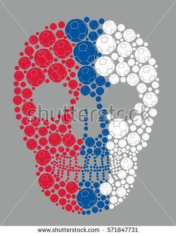 Tattoo skull Russia flag color soccer ball graphic design vector art