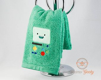 "Dang it, I just bought towels! I need this. Adventure Time ""BMO"" Inspired - Embroidered Hand Towel"