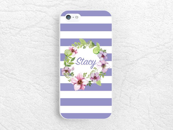 Floral Wreath Monogram name personalized Phone Case for iPhone 6/6s, Sony z3 z4, LG G4, HTC one M9, Moto x Moto g, Note 5, Striped Case -S21