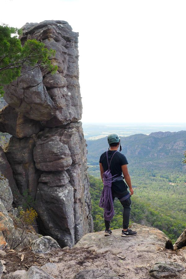 Looking out over the Grampians, preparing for the climb. #rockclimbing #grampians #australia #victoria #climber