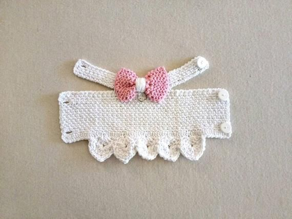White Dog Harness With Pink Bow Dog Dress Dog Clothes Cat