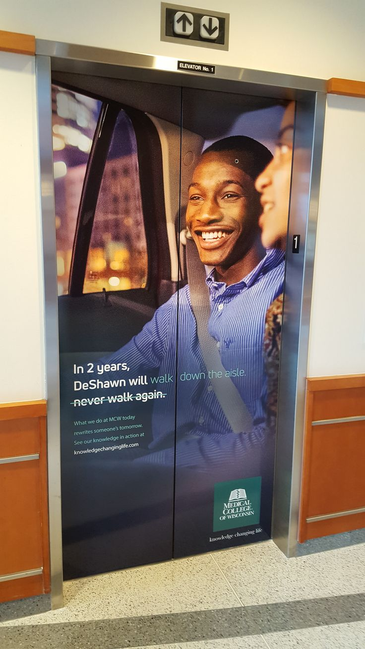 FASTSIGNS of Menomonee Falls applied vinyl prints to an elevator, for The Medical Collage of Wisconsin. Check us out at fastsigns.com/452, call us at #262-253-0799, email us at 452@fastsigns.com, or come visit us at W173N9170 St. Francis Drive, Suite 1, Menomonee Falls, WI 53051