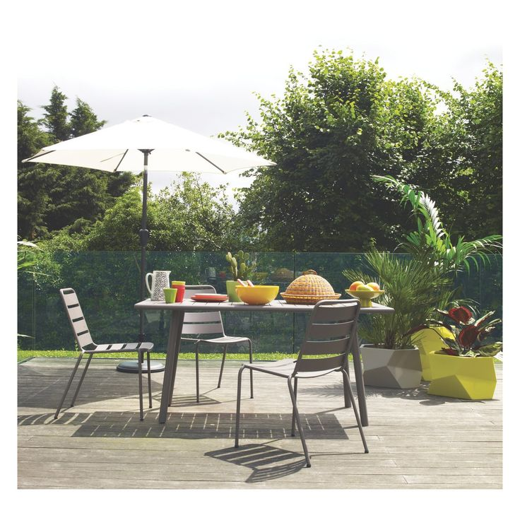 darwin 4 6 seat grey metal garden table buy now at habitat uk