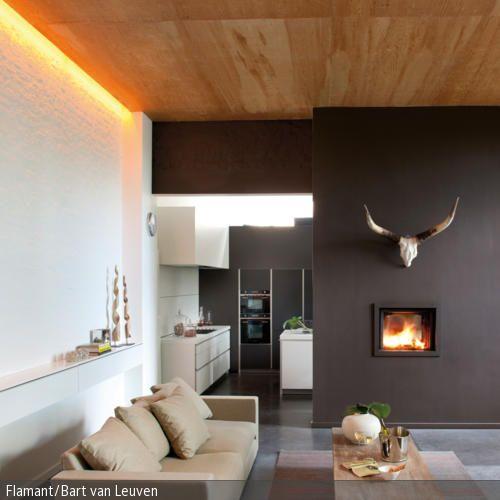 Ein besonderer Eyecatcher im Wohnzimmer ist dieses stylische Geweih über dem Kamin, welches dem modernen Raum eine urige Note verleiht. Der hoch in der Wand installierte …