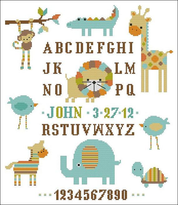 Candy Stripe Zoo Boy Sampler Cross Stitch PDF Chart by PinoyStitch