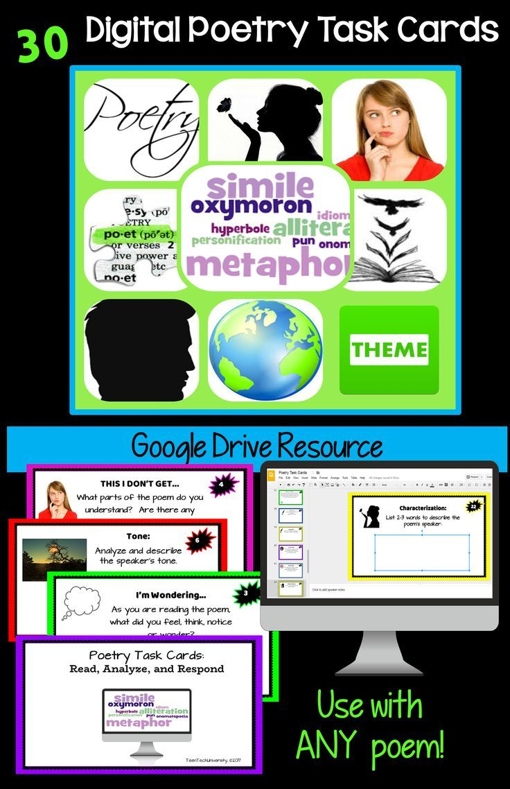 This resource includes 30 dynamic Digital Poetry Task Cards for Google Drive! The Digital Poetry Task Cards can be used to analyze ANY poem. Students respond directly to the prompt by typing on the Task Card! No printing needed! Modern design, bold colors