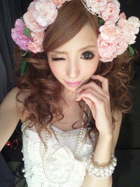 [ • gyaru - makeup - flowers - hime • ]
