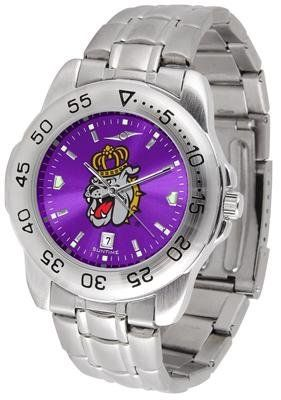 James Madison Dukes JMU NCAA Mens Sport Anochrome Watch by SunTime. $59.99. Officially Licensed James Madison Dukes Men's Stainless Steel Wristwatch. Stainless Steel-Scratch Resistant Crystal. AnoChrome Dial Enhances Team Logo And Overall Look. Men. Links Make Watch Adjustable. This handsome eye-catching Mens Sports AnoChrome Watch With Stainless Steel Band comes with a stainless steel link bracelet band. A date calendar function plus a rotating bezel/timer circles the scratch...