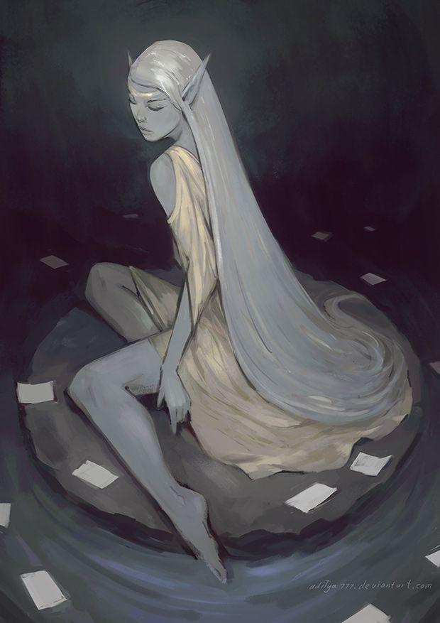 Gold Elf by aditya777,  roleplaying digital painting, elf character design, inspirational art