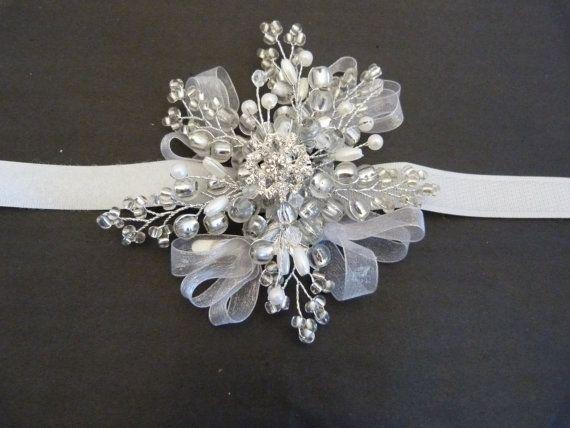 Snowflake wrist corsage with white velcro wrist band, Winter wedding, Christmas ball, Prom wrist corsage, bridesmaids wrist corsage.