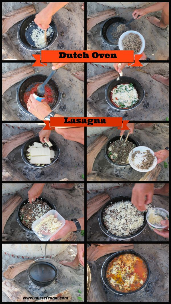 Dutch Oven Lasagna: Easy camping recipe. Feeds at least 6-8 hungry adults.