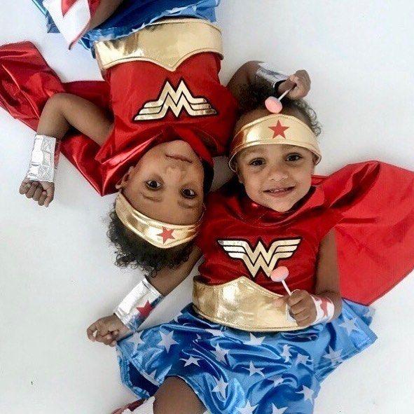 Wonder Woman toddler twin Halloween costumes