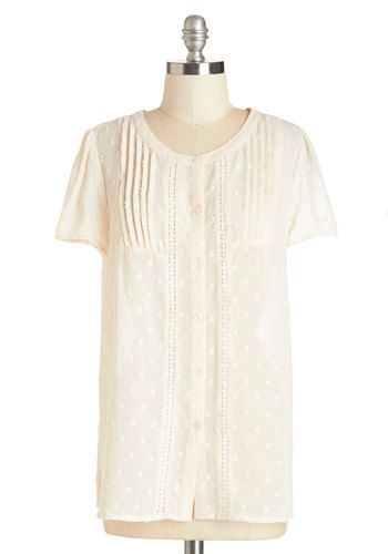 Everyday Elegant Top - Chiffon, Sheer, Woven, Cream, Solid, Buttons, Embroidery, Pleats, Work, Casual, Daytime Party, Darling, Short Sleeves, Scoop, White, Short Sleeve
