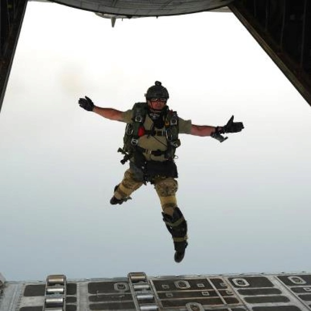 A U.S. Air Force pararescueman from the 82nd Expeditionary Rescue Squadron, jumps out of an HC-130P Combat King, 81st ERQS, over the Gulf of Tadjoura, Djibouti, during a personnel recovery exercise July 19, 2012. The joint exercise with the 81st ERQS, 82nd ERQS, and the Spanish navy allowed pararescuemen to practice insertion, emergency medical, and extraction procedures in support of Combined Joint Task Force - Horn of Africa. (U.S. Air Force photo by TSgt Dan St. Pierre)…