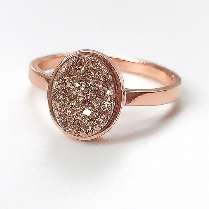 Rose Gold with Rose Gold Druzy Ring