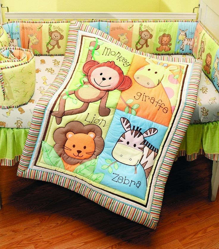 Summer Infant 4 Piece Monkey Jungle Collection Crib Set, Neutral For Only $99.40  Monkey Jungle 4-Piece It's time for some monkey dance. Brings a light hearted jungle theme to baby's nursery with this four piece bedding set. Features a cast of monkeys, giraffes, zebras, and lions, to add more fun to your little one's playtime.     Crib sheet is fully elasticized for a snug fit     Crib skirt fits 28 x 52 inches mattress     Machine washable