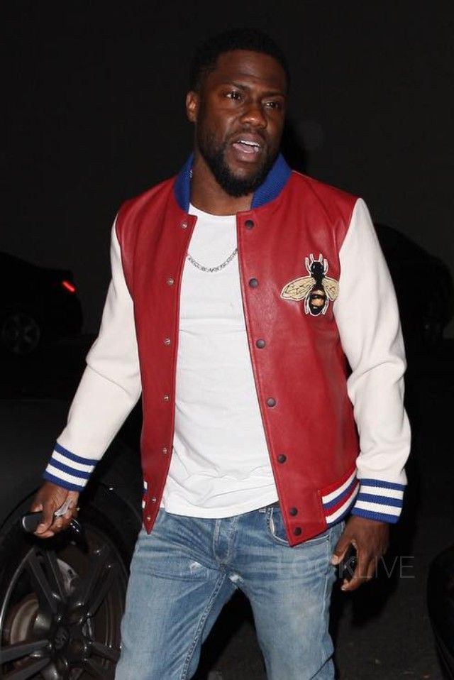 Kevin Hart wearing  Gucci Leather and felt bomber with embroideries