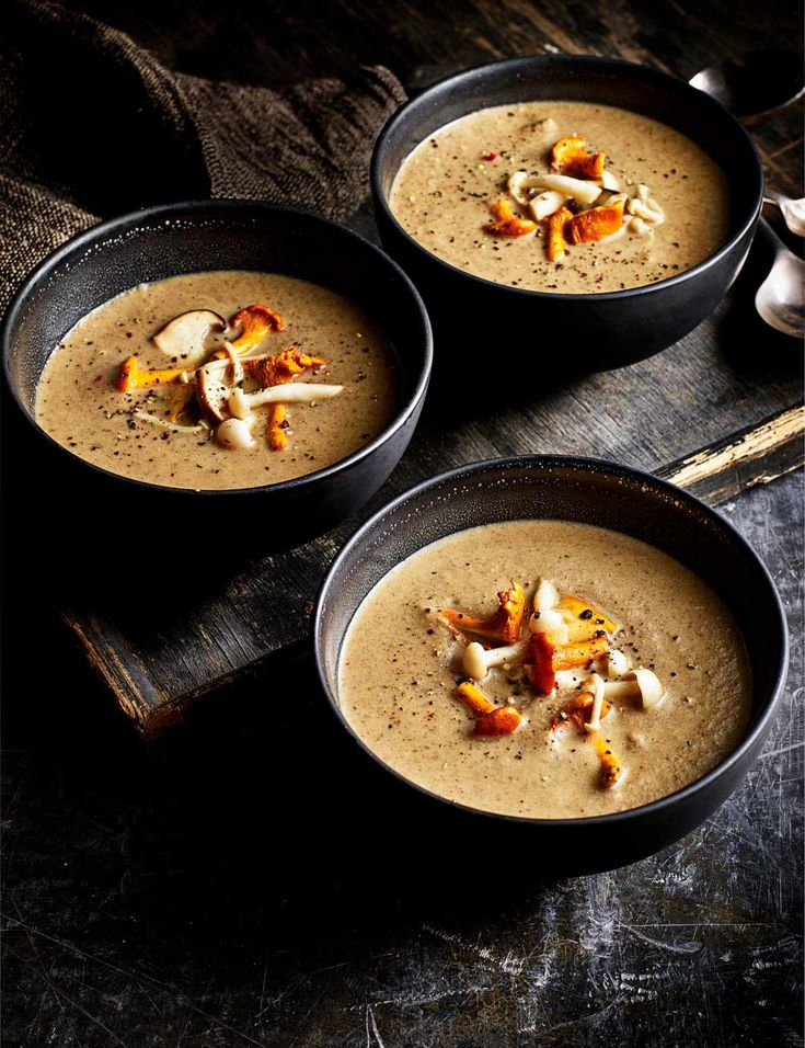 Mushroom soup with pickled mushrooms  Check out this creamy mushroom soup with simple pickled mushrooms. This super easy recipe is a great lunchtime meal and it's low in calories too