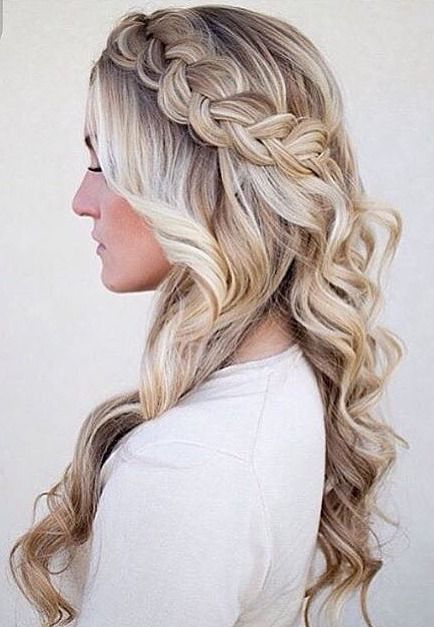half up half down with braided crown