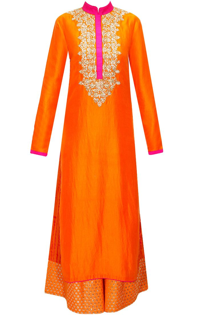VIKRAM PHADNIS Orange embroidered kurta with shibori printed pants available only at Pernia's Pop-Up Shop.